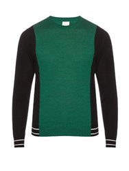 Paul Smith Contrast Panel Wool And Silk Blend Sweater Green Multi