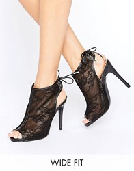 New Look Wide Fit Lace Heeled Ankle Boot Black