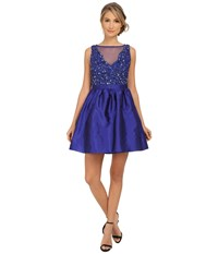 Adrianna Papell Short Beaded Taffeta Party Dress Neptune Women's Dress Blue