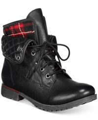 Zigi Rock And Candy Spraypaint Flannel Foldover Lace Up Booties Women's Shoes Black Flannel