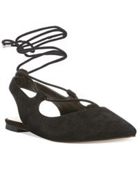 Franco Sarto Snap Lace Up Ghillie Flats Women's Shoes Black Suede