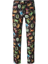 Versace Collection Animals Print Slim Trousers Black