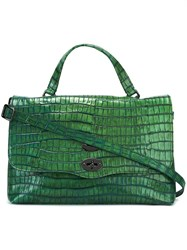 Zanellato Alligator Skin Effect Tote Bag Green