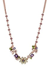 Betsey Johnson Flower Beaded Necklace Purple