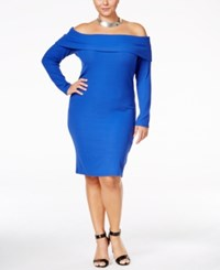 Ing Trendy Plus Size Off The Shoulder Sweater Dress Only At Macy's Cobalt