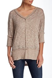 Bobeau Exposed Seam V Neck Pullover Beige