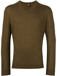 Paul Smith Ps By V Neck Fine Knit Jumper Green