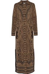 Temperley London Avarga Metallic Jacquard Knit Coat Tan