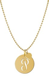 Women's Jane Basch Designs Personalized Script Initial Disc Pendant Necklace Gold P