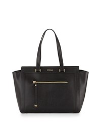 Furla Ginevra Large Leather Satchel Bag Onyx Black