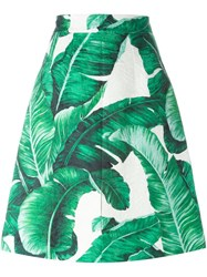 Dolce And Gabbana Banana Leaf Brocade Skirt Green