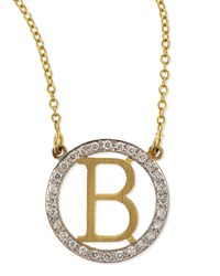 Small Round Initial Pendant Necklace With Diamonds Kacey K V