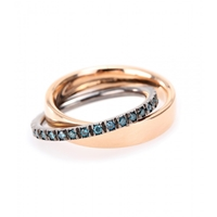 Roberto Marroni 18Kt Polished Rose Gold And Blue Diamond Ring Red Blue