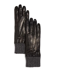 Bloomingdale's Cashmere Cuff Leather Gloves Black