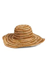 Women's Caslon Raffia Floppy Brim Hat Brown Tan Combo
