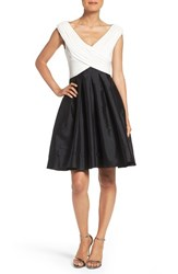 Adrianna Papell Petite Women's Taffeta Fit And Flare Dress Black Ivory