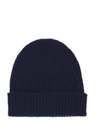 Mr. Start Ribbed Cashmere Beanie Navy Blue