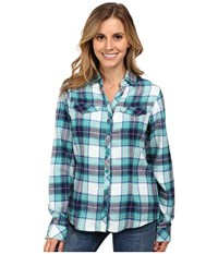 Columbia Simply Put Ii Flannel Shirt Emerald Plaid Women's Long Sleeve Button Up Green