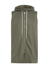 Rick Owens Men Drawstring Hooded Vest Green