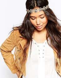 Asos Seedbead Flower Headband Brown