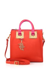 Sophie Hulme Two Tone Structured Leather Tote Red Pink