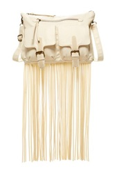 T Shirt And Jeans Washed Crossbody With Fringe Beige