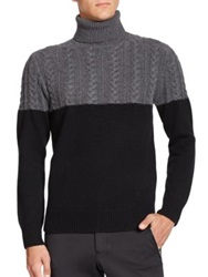 Ovadia And Sons Half Cable Knit Turtleneck Sweater Charcoal Black