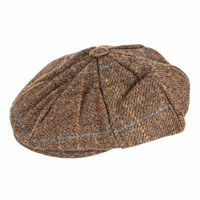 Dents Mens Eight Piece Cap Abraham Moon Tweed Chestnut