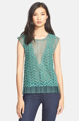 Tracy Reese Applique Sleeveless Sweater Menthol