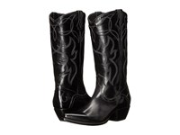Frye Shane Embroidered Tall Black Smooth Veg Calf Cowboy Boots