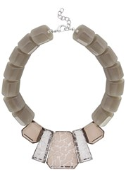 Armani Collezioni Taupe Beaded Necklace Brown