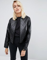 Asos Leather Jacket With 80'S Stud Detail Black