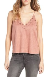 Lush Women's Grommet Detail Faux Suede Camisole Ice Pink