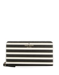 Kate Spade Lacey Striped Wallet Black Sandy Beach