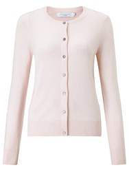 John Lewis Crew Neck Cashmere Cardigan Light Pink