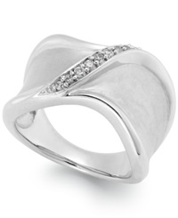 Macy's Diamond Crossover Ring In Sterling Silver 1 7 Ct. T.W.