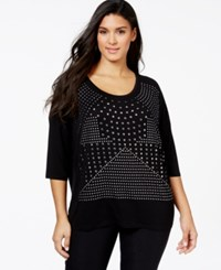 Belldini Plus Size Studded Scoop Neck Top