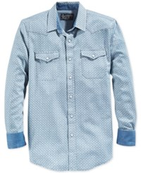American Rag Men's Snap Front Geometric Print Long Sleeve Shirt Only At Macy's Blue Combo