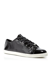 Delman Lace Up Sneakers Magie Patent Black Geo Print