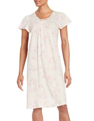 Miss Elaine Floral Print Flutter Sleeve Nightgown Pink Peach