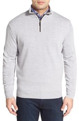 Thomas Dean Men's Regular Fit Quarter Zip Merino Wool Sweater Light Grey