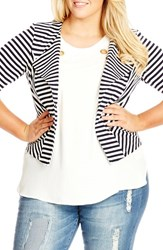 Plus Size Women's City Chic Zip Detail Stripe Ponte Blazer Black