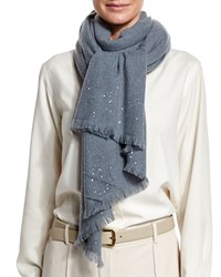 Loro Piana Astrale Sequined Cashmere Blend Scarf Purple