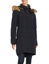 Vince Camuto Straight Fit Faux Fur Hooded Fill Jacket Navy