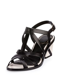 Roger Vivier Skyscraper Strappy Leather Sandal Black White Women's Size 36.5B 6.5B