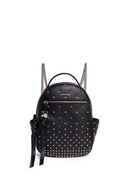 Alexander Mcqueen Small Stud Chain Leather Backpack Black