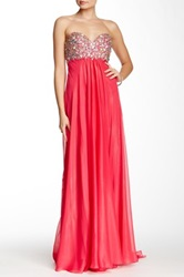 Terani Couture Strapless Glitter Gown Pink