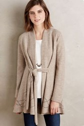 Anthropologie Embroidered Boiled Wool Sweater Coat Taupe