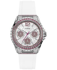 Guess Women's White Silicone Strap Watch 40Mm U0032l6 Silver