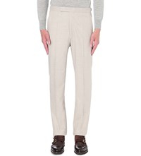 Richard James Slim Fit Tapered Wool Trousers Cream